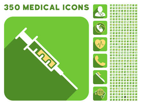 time account: Syringe icon and 350 vector medical icons collection. Style is white and yellow flat symbols on rounded square green buttons with longshadow.