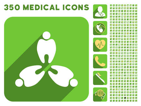 sms payment: Three Teeth icon and 350 vector medical icons collection. Style is white and yellow flat symbols on rounded square green buttons with longshadow.