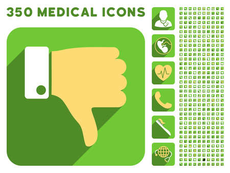 sms payment: Thumb Down icon and 350 vector medical icons collection. Style is white and yellow flat symbols on rounded square green buttons with longshadow.