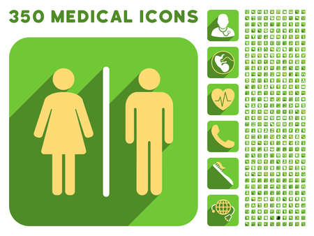 public health services: Toilet People icon and 350 vector medical icons collection. Style is white and yellow flat symbols on rounded square green buttons with longshadow. Illustration