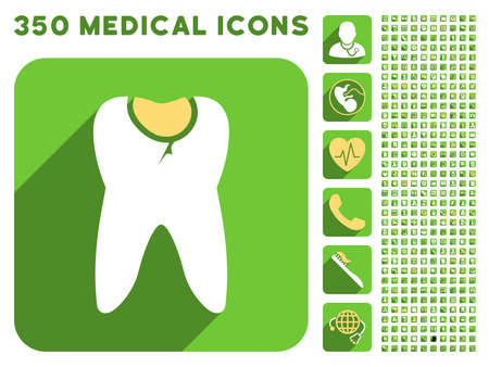 Tooth Caries icon and 350 vector medical icons collection. Style is white and yellow flat symbols on rounded square green buttons with longshadow. Illustration