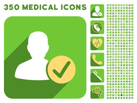 valid: Valid User icon and 350 vector medical icons collection. Style is white and yellow flat symbols on rounded square green buttons with longshadow. Illustration