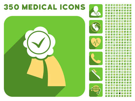 validation: Validation Seal icon and 350 vector medical icons collection. Style is white and yellow flat symbols on rounded square green buttons with longshadow. Illustration