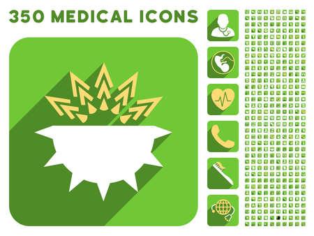Viral icône Structure et 350 vecteur icônes médicales collection. Le style est plat symboles blancs et jaunes sur arrondies boutons verts carrés avec Longshadow. Vecteurs