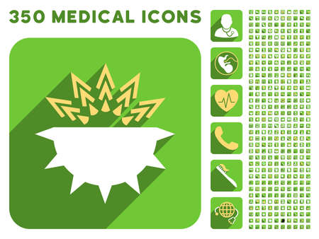 germ free: Viral Structure icon and 350 vector medical icons collection. Style is white and yellow flat symbols on rounded square green buttons with longshadow.