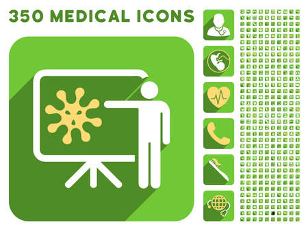 ameba: Virus Lecture icon and 350 vector medical icons collection. Style is white and yellow flat symbols on rounded square green buttons with longshadow.