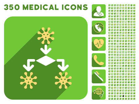 replication: Virus Reproduction icon and 350 vector medical icons collection. Style is white and yellow flat symbols on rounded square green buttons with longshadow. Illustration