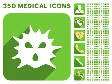 ameba: Virus Structure icon and 350 vector medical icons collection. Style is white and yellow flat symbols on rounded square green buttons with longshadow.