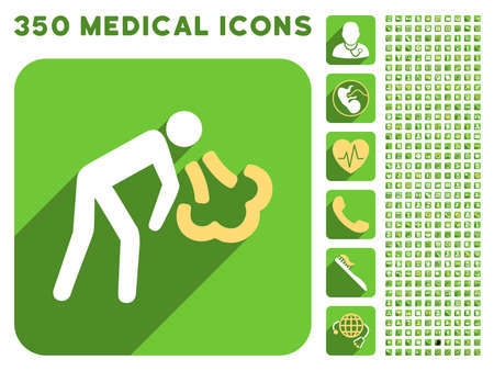 vomiting: Vomiting Person icon and 350 vector medical icons collection. Style is white and yellow flat symbols on rounded square green buttons with longshadow. Illustration