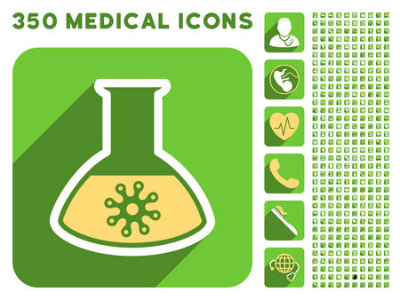 ameba: Virus Analysis icon and 350 vector medical icons collection. Style is white and yellow flat symbols on rounded square green buttons with longshadow.