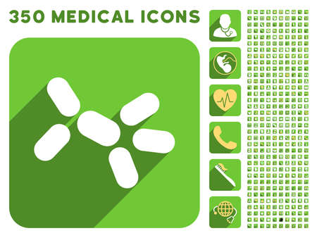 icona di lievito e 350 icone vettoriali medico di raccolta. Lo stile è bianco e giallo simboli piatte sul arrotondati pulsanti quadrato verde con Longshadow.