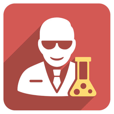 retort: Scientist With Retort long shadow vector icon. Style is a flat symbol on a red rounded square button. Illustration