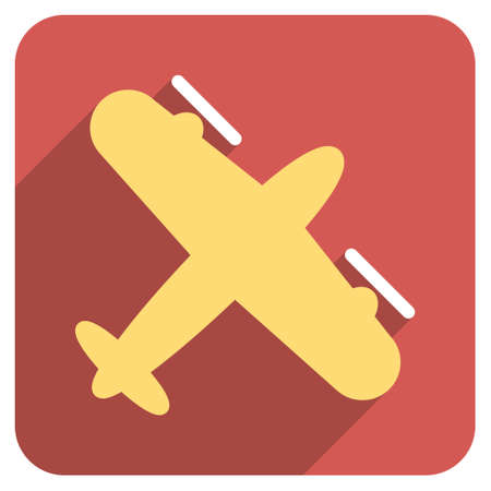 airways: Screw Aeroplane long shadow vector icon. Style is a flat symbol on a red rounded square button. Illustration
