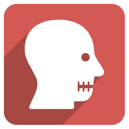 sewn: Sewn Mouth long shadow vector icon. Style is a flat symbol on a red rounded square button. Illustration