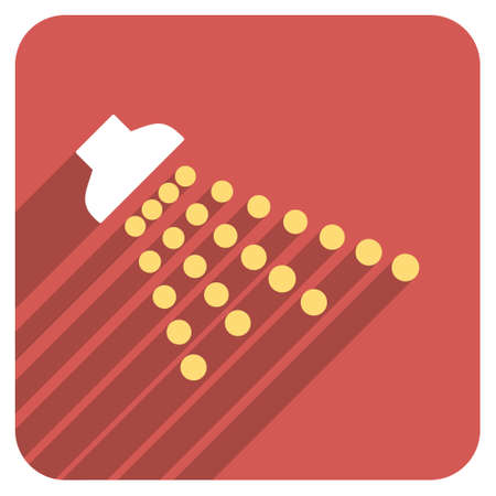 disinfectant: Shower long shadow vector icon. Style is a flat symbol on a red rounded square button.