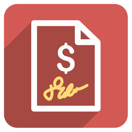 chequebook: Signed Invoice long shadow vector icon. Style is a flat symbol on a red rounded square button.
