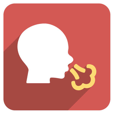 sneezing: Sneezing long shadow vector icon. Style is a flat symbol on a red rounded square button.