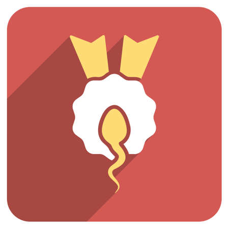 favorite number: Sperm Winner long shadow vector icon. Style is a flat symbol on a red rounded square button.