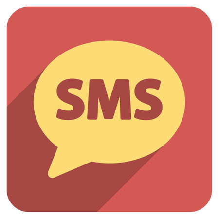 short message service: SMS long shadow vector icon. Style is a flat symbol on a red rounded square button. Illustration