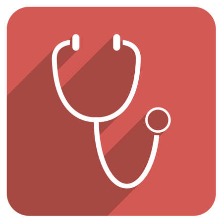 phonendoscope: Stethoscope long shadow vector icon. Style is a flat symbol on a red rounded square button. Illustration