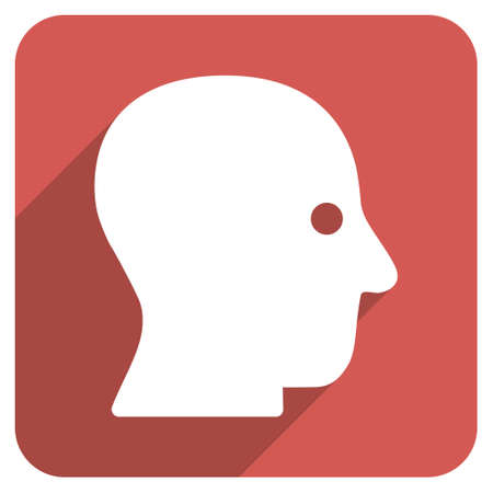 silent: Silent Head long shadow vector icon. Style is a flat symbol on a red rounded square button. Illustration