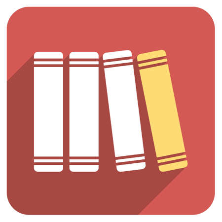 periodicals: Library Books long shadow vector icon. Style is a flat symbol on a red rounded square button.