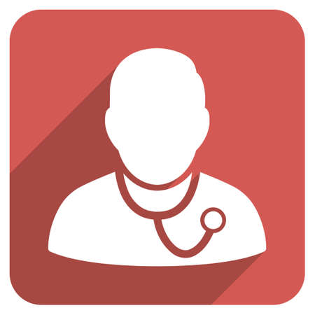 medic: Medic long shadow vector icon. Style is a flat symbol on a red rounded square button. Illustration