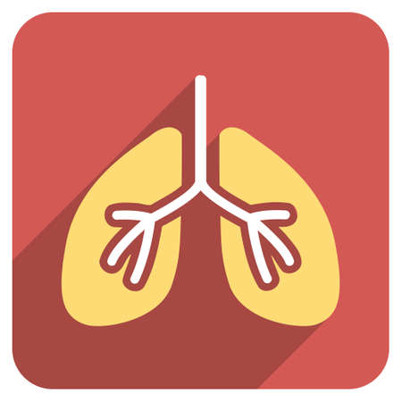 inhale: Lungs long shadow vector icon. Style is a flat symbol on a red rounded square button.