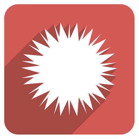 provocative: Microbe Spore long shadow vector icon. Style is a flat symbol on a red rounded square button. Illustration