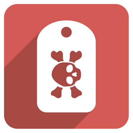 morgue: Morgue Tag long shadow vector icon. Style is a flat symbol on a red rounded square button.