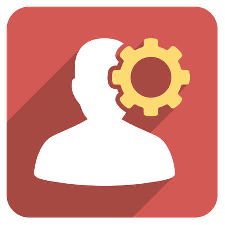migraine: Migraine long shadow vector icon. Style is a flat symbol on a red rounded square button.