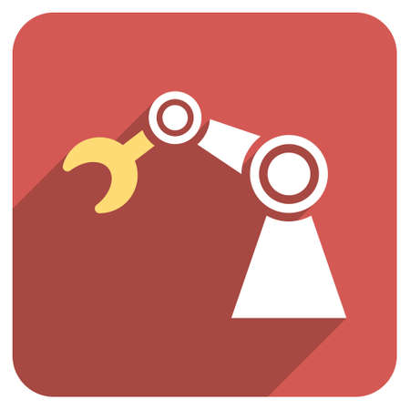 manipulator: Manipulator long shadow glyph icon. Style is a flat symbol on a red rounded square button. Stock Photo