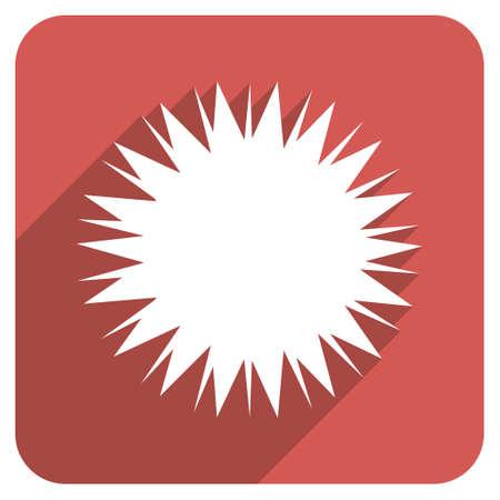 microbio: Microbio Spore larga sombra icono de glifo. El estilo es un s�mbolo de plano sobre un bot�n cuadrado redondeado de color rojo. Foto de archivo