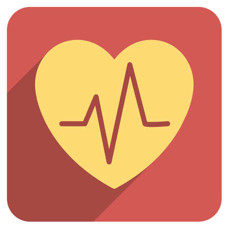 electrocardiograph: Heart Ekg long shadow vector icon. Style is a flat symbol on a red rounded square button.