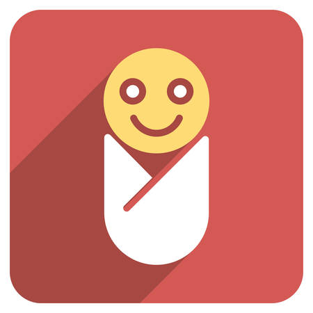 swaddling: Infant long shadow vector icon. Style is a flat symbol on a red rounded square button.