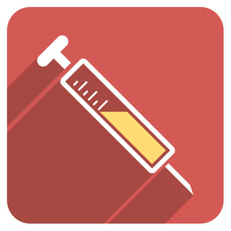 drug abuse: Injection long shadow vector icon. Style is a flat symbol on a red rounded square button.