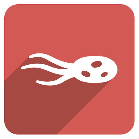 intrude: Intrude Microorganism long shadow vector icon. Style is a flat symbol on a red rounded square button.