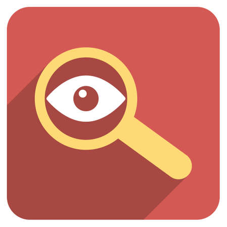 investigate: Investigate Vision long shadow vector icon. Style is a flat symbol on a red rounded square button.