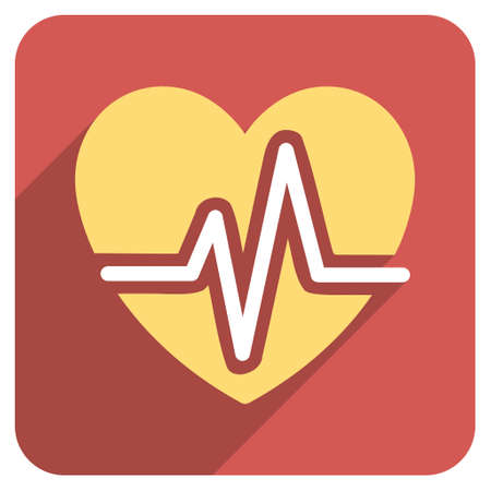 heart ekg trace: Heart Diagram long shadow vector icon. Style is a flat symbol on a red rounded square button.