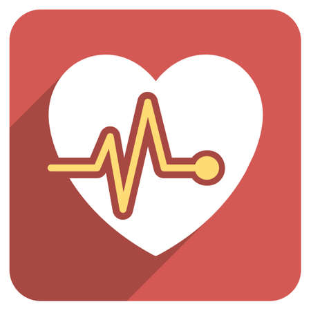 health care analytics: Heart Pulse long shadow vector icon. Style is a flat symbol on a red rounded square button.