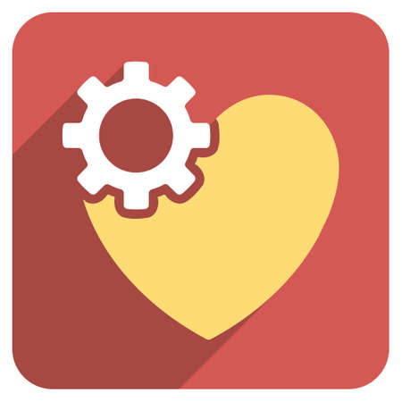 configure: Heart Surgery long shadow vector icon. Style is a flat symbol on a red rounded square button. Illustration