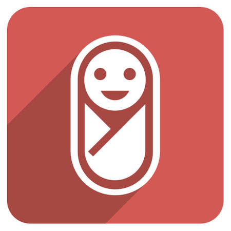swaddling clothes: Infant long shadow vector icon. Style is a flat symbol on a red rounded square button.