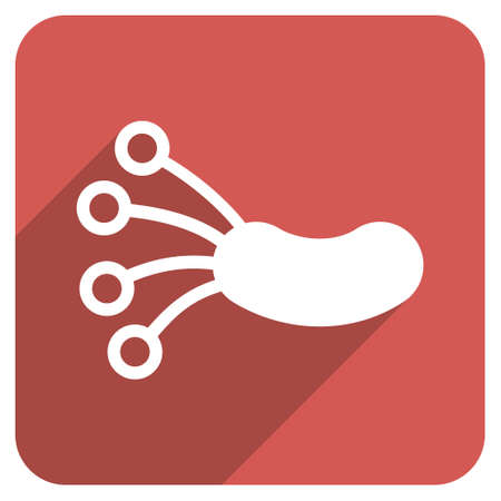 ameba: Infection Microbe long shadow vector icon. Style is a flat symbol on a red rounded square button. Illustration
