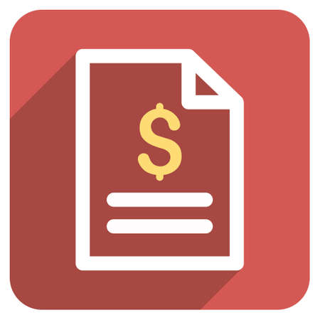 indenture: Invoice Page long shadow vector icon. Style is a flat symbol on a red rounded square button.