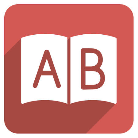 handbook: Open Handbook long shadow vector icon. Style is a flat symbol on a red rounded square button.