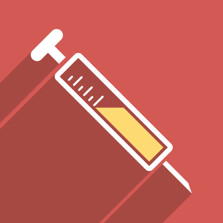 inoculation: Injection long shadow vector icon. Style is a flat light symbol on a red square background. Illustration