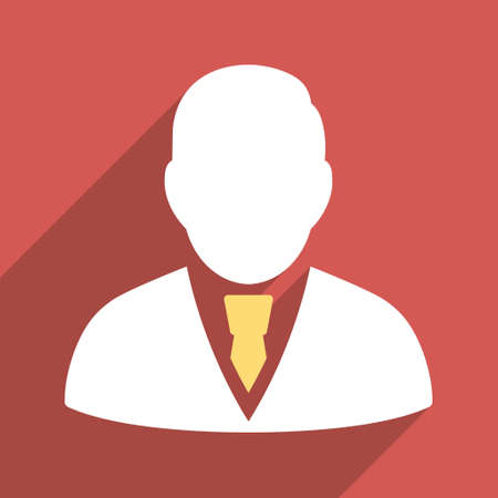Manager long shadow vector icon. Style is a flat light symbol on a red square background.