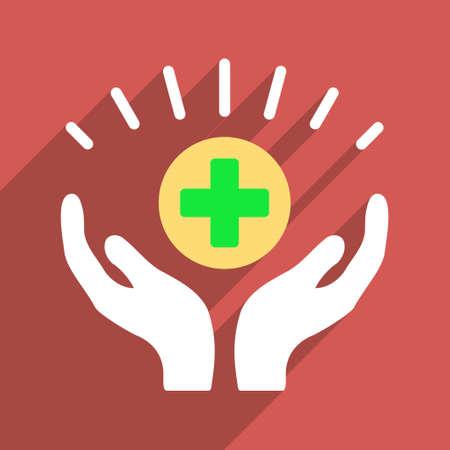 prosperidad: La prosperidad médica del vector del icono larga sombra. El estilo es un símbolo de luz plana sobre un fondo cuadrado rojo.