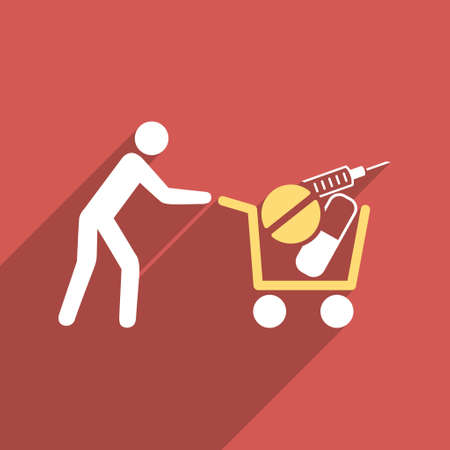emergency cart: Medical Shopping Cart long shadow vector icon. Style is a flat light symbol on a red square background.