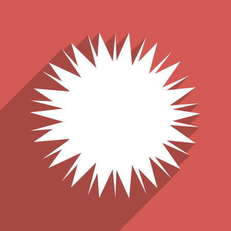idler: Microbe Spore long shadow vector icon. Style is a flat light symbol on a red square background. Illustration